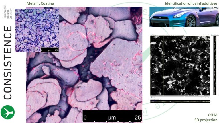 Confocal Microscopy 3D reconstruction images of metallic coating, by Consistence Microstructure Research Laboratory