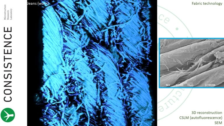 Confocal Microscopy and SEM image of jeans fabric textile by Consistence Microstructure Research Laboratory