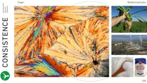 Polarized light microscopy image of sugar crystallized in a thin film. Consistence Microstructure Research Laboratory