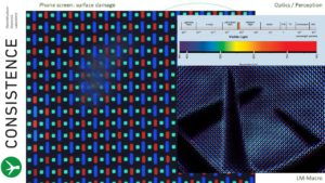 Visualisation of pixels, incl red, green, and blue leds. Distorted area is due to fault in superficial layers. www.Consistence.nl