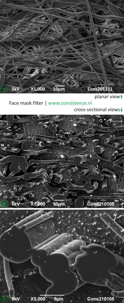 Face Mask melt blown fibres SEM Microstructure Consistence