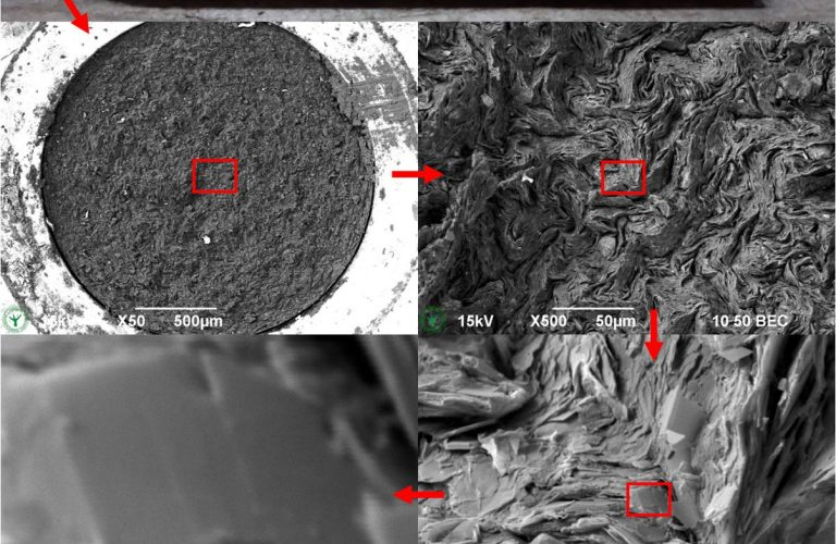 Scanning Electron Microscopy (SEM) images of IKEA pencil at increasing magnifications, showing traceable visualisation in four steps to 50kx magnification. Backscattered electron sputter shadow contrast. By Jaap Nijsse, Consistence Microstructure Research Laboratory.